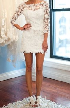 Floral Short Wedding Dress: could be used for reception dress or rehearsal dress Wedding Gowns, Our Wedding, Dream Wedding, Wedding Reception, Wedding Ideas, Summer Wedding, Casual Wedding, Wedding Photos, Reception Gown