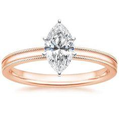 Marquise Cut 2mm Milgrain Solitaire Diamond Engagement Ring - 14K Rose Gold