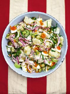 This pickled red onion and potato salad is excellent at cutting through the smoky flavours of barbecued meats