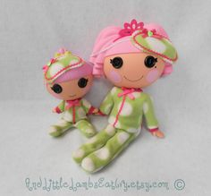 Lalaloopsy Clothes - Big Sister & Little Sister Pajama and Sleep Mask Set - Green Polka Dot