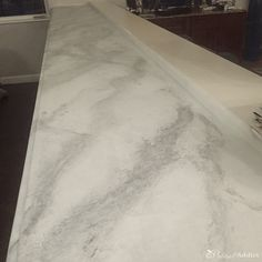 Want to know if you can paint over granite counter tops? I turned my ugly granite into gorgeous faux marble counters with just primer and paint. Painted Granite Countertops, Black Kitchen Countertops, Granite Backsplash, Painting Countertops, Granite Flooring, Concrete Countertops, Marble Counters, Granite Paint, Faux Granite