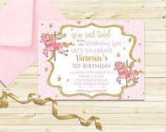Carrusel menta oro cumpleaños rosa lavanda por LillysPartyBoutique