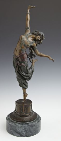 "C.J.R. Cournet - The Harem Dancer. Patinated Bronze on Marble Base. France(?). Circa Early-20th Century. 21"" x 6""."