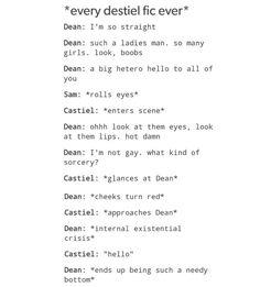 supernatural tumblr textpost post funny lol dean winchester castiel cas destiel fic fanfic fanfiction headcanon