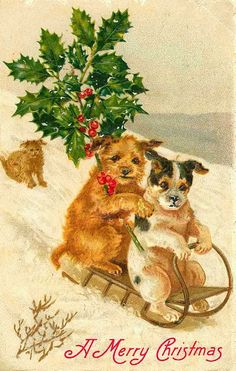 Vintage Christmas cards and postcards for crafting or just printing out to use as holiday decor