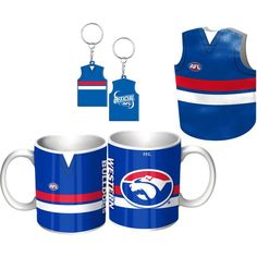 Western Bulldogs Guernsey Gift Pack.  This Great Pack Features Guernsey Design Mug, Keyring, & Stubby Cooler.  To see the full range of AFL merch, visit www.shop.afl.com.au