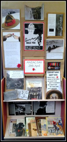 ANZAC Day Display - include call numbers for related topics Visible Learning, Anzac Day, Classroom Organisation, Field Day, Remembrance Day, Classroom Setting, Visual Display, Library Displays, Art Activities