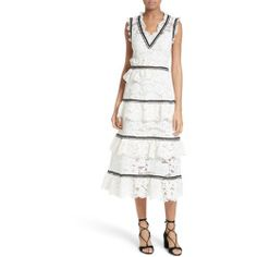 New offer for SELF-PORTRAIT Tiered Lace Midi Dress fashion online. [$615]?@@>>sladress shop<<