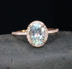 14k Rose Gold 9x7mm Aquamarine Oval and Diamonds Wedding or Engagement Ring (Choose color and size options at checkout)