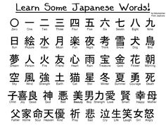 Some Basic Words in Japanese Language. Learn in at Akarui Group. This Japanese Language Program is perfect for anyone who wants to study Japanese Language at their own pace. Kanji Japanese, Japanese Phrases, Study Japanese, Japanese Symbol, Japanese Culture, Learning Japanese, Japanese Alphabet Kanji, Kanji Alphabet, Japanese Colors