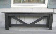 """I built this bench for my entry way under a crown moulding hook shelf and love how it came out but I will be moving it to the front porch as it's not deep enough for a """"foyer"""" bench for my taste."""