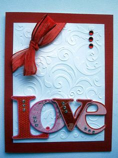 Stunning Love Card... Like the placement of the bling