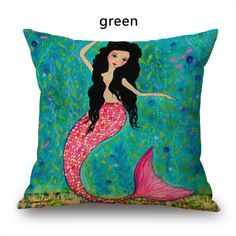 Mermaid throw pillow hand painted style Grimm's Fairy Tales cartoon pillow for children