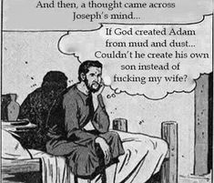 Im sure that thought consumed him - Just For Fun - Im sure that thought consumed him The post Im sure that thought consumed him appeared first on Gag Dad. Bible Humor, Losing My Religion, Dark Jokes, You Make Me Laugh, People Laughing, Funny As Hell, Cute Comics, Atheism, Deep Thoughts