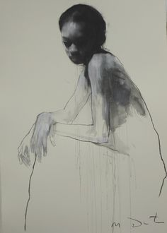 """Ciprana Seated"" by Mark Demsteader, 46"" x 32"", pastel and collage"