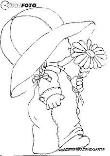 Artes da Nique: Riscos Variados could use as a sun bonnet. Applique Patterns, Quilt Patterns, Hand Embroidery, Embroidery Designs, Sunbonnet Sue, Coloring Book Pages, Digi Stamps, Copics, Fabric Painting