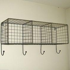 Metal Wire Locker Room Wall Shelf Hooks Storage Basket Vintage Industrial Style
