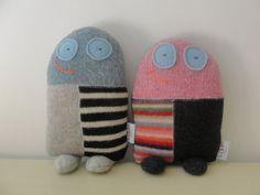 doll softie. mini milo. softie made from repurposed wool, handmade by lisa of looploft.