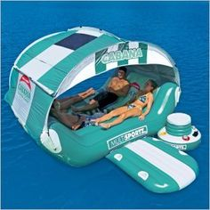 Must. Have. This!!!! Cabana Islander Inflatable Island Raft. It has a build in cooler, boarding area, and a hole in the middle so you can slip into the water!!!!