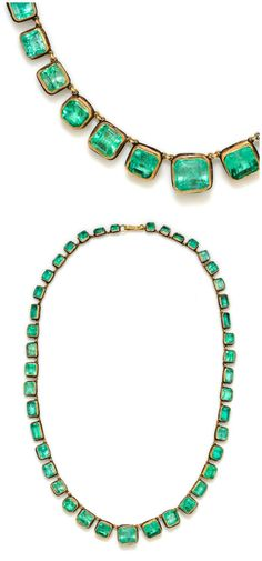 A 24K yellow gold, sterling silver and emerald graduated necklace, Judy Geib.