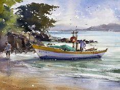 "WATERCOLOR ⭐ Art sharing page on Instagram: ""Comment your favourite 1-3?💛 Вы видите результат 3х уроков большого акварельного онлайн-марафона ""Вокруг света - Бразилия 🇧🇷"" с Галиной…"" Watercolor Landscape Paintings, Boat, Boats, Dinghy, Watercolor Landscape, Ship"