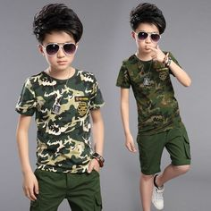 Cheap children clothing set, Buy Quality clothing sets directly from China kids boy Suppliers: 2017 Kids Boys Suits High Quality Cotton T-shirts Pants 2 Pieces / Set New Summer Child Camouflage Suit Children Clothing Sets Baby Outfits, Outfits Niños, Kids Outfits, Stylish Outfits, Boys Summer Suits, Summer Boy, Boys Suits, Moda Kids, Boys Clothes Style