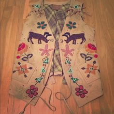 Huron Valley Vest | Double D Ranchwear Fall 2012 Suede beaded vest. Barely worn. Like new. I wear a size 2-4 jacket/vest, this fits more like a 6-8. Adjustable back. Double D Jackets & Coats Vests