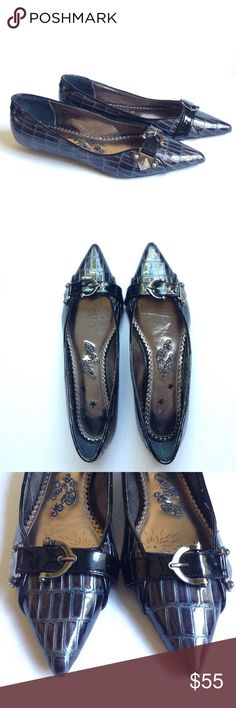 Naughty Monkey pointy flat shoes. Naughty Monkey pointy flat shoes in size 10. Buckle hardware detail. There's just one minor chip/tear at the back of the shoes shown on the photo. Other than that in EUC. naughty monkey Shoes Flats & Loafers