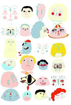 Tijdelijke Tattoos Funny faces door Laura Gee