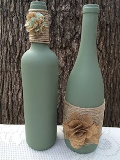 Sage hand painted wine bottles with twine by TwinenWineCreations