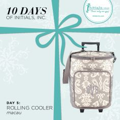 On the 5th day of the 10 Days of Initials, Inc. we are featuring….The Macau Rolling Cooler! This set of wheels will get you to and from your next party with ease! Roll or carry all your items in this spacious cooler with its large main compartment, extra front pocket, and additional side mesh pockets. The Rolling Cooler comes in three beautiful prints and would make a wonderful gift for anyone who loves to party!