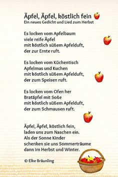 A new poem and song for autumn. There are many ripe apples luring from the apple tree It lure from the kitchen table Apple Tree, Good To Know, Poems, Told You So, Language, Learning, Blog, Elke Bräunling, Storytelling