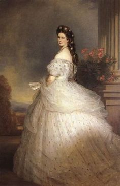 Elisabeth d'Autriche in a dress designed by Charles Frédérick Worth