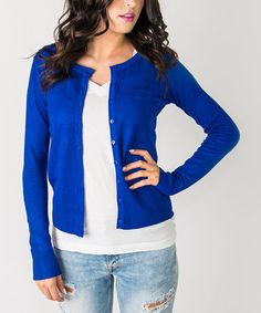 Royal Blue Button-Up Cardigan - Women & Plus #zulily #zulilyfinds