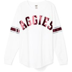 PINK Texas A&M University Limited Edition Varsity Crew (32 CAD) ❤ liked on Polyvore featuring tops, white, relaxed fit tops, white top, pink sequin top, crew-neck tops and white sequin top
