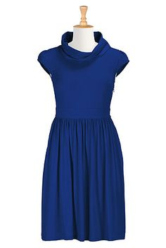 I <3 this Cowl neck cotton knit dress from eShakti