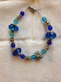 Blue pandora style bracelet