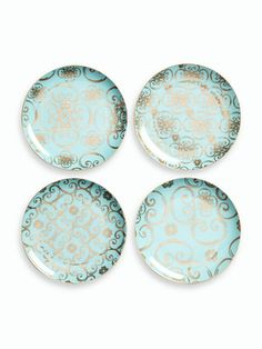 These are gorgeous!!! These would add style to any dinner party! I suggest buying 2 sets:)    Arabesque Dessert Plates (Set of 4) by Rosanna Inc. on Gilt Home