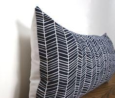 Navy Blue White Herringbone Modern Pillow Cover Lumbar 20 x 20, 18 x 18 on Etsy, $18.00