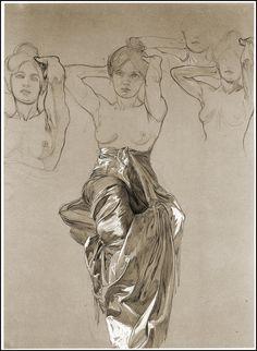 Alphonse Mucha,étude de drapé