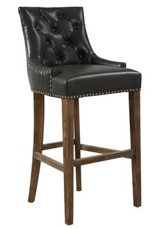 TOV Furniture Uptown Grey Leather Barstool