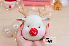 Erica Catarina: The Red-Nosed Reindeer ♡ Toy Art, Erica Catarina, Rena, Red Nosed Reindeer, Xmas, Christmas, Teddy Bear, Diy, Fabric