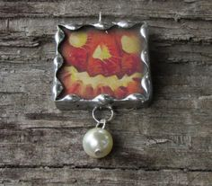 Jack O'Lantern Halloween 1 Inch Glass by MablesGranddaughter, $15.00