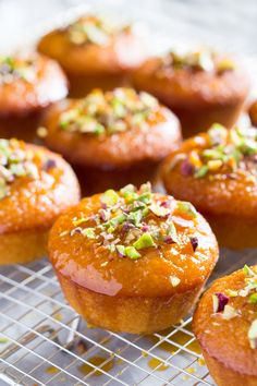 Orange semolina cupcakes make an elegant vegan dessert. Drenched in an aromatic orange syrup, they are moist, light and make a great coffee accompaniment.