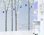 Vinyl wall decals tree and birds wall decal nursery bird murals wall sticker children wall decal- birch tree with bitds in forest Z105 cuma