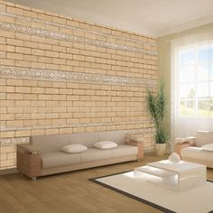 home Wallpaper Brick mit Ornamenten Wallpaper Wandbilder UK # Wallpaper Cars, 3d Wallpaper Mural, View Wallpaper, Modern Wallpaper, Home Wallpaper, Coastal Living Rooms, Living Room Decor, Living Spaces, Lawn Furniture