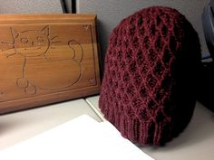 clrowe01's Burgundy Hat knit with Bijou Bliss #knitting #yarn #interweave    Jared Flood's Koolhaas hat kit from Interweave!
