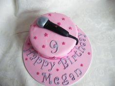 Pink microphone cake