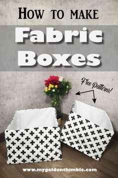 Learn how to make a fabric box with liner with our 3 free sewing patterns and our step by step tutorial. Amazing sewing project for your home organization! Fabric Box Pattern, Fabric Boxes Tutorial, Purse Tutorial, Wallet Pattern, Fabric Patterns, Box Patterns, Sewing Patterns Free, Free Sewing, Purse Patterns