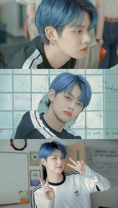 © by aephithelieum Pretty Boys, Cute Boys, My Boys, K Pop, Funny Kpop Memes, Young Ones, K Idols, Blue Hair, Boy Bands